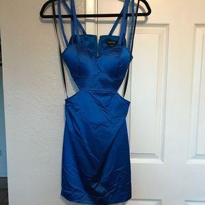 Blue silk Bebe dress